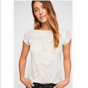 Free People Camo Clare Tee Shirt Off White XS